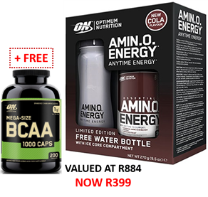 Amino Energy 30 servings Cola + FREE Water Bottle +(BCAA Caps Exp.Mar`19)