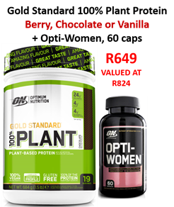OPTIMUM NUTRITION GOLD STANDARD 100% PLANT PROTEIN 684G + Free Opti-Women 60caps